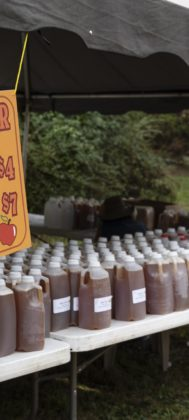 Fresh-pressed apple cider could be purchased by the gallon or half gallon.
