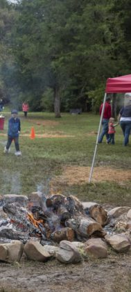 The firepit kept Apple Festival visitors warm.
