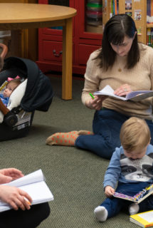 While kids break to read, moms write in their journals.